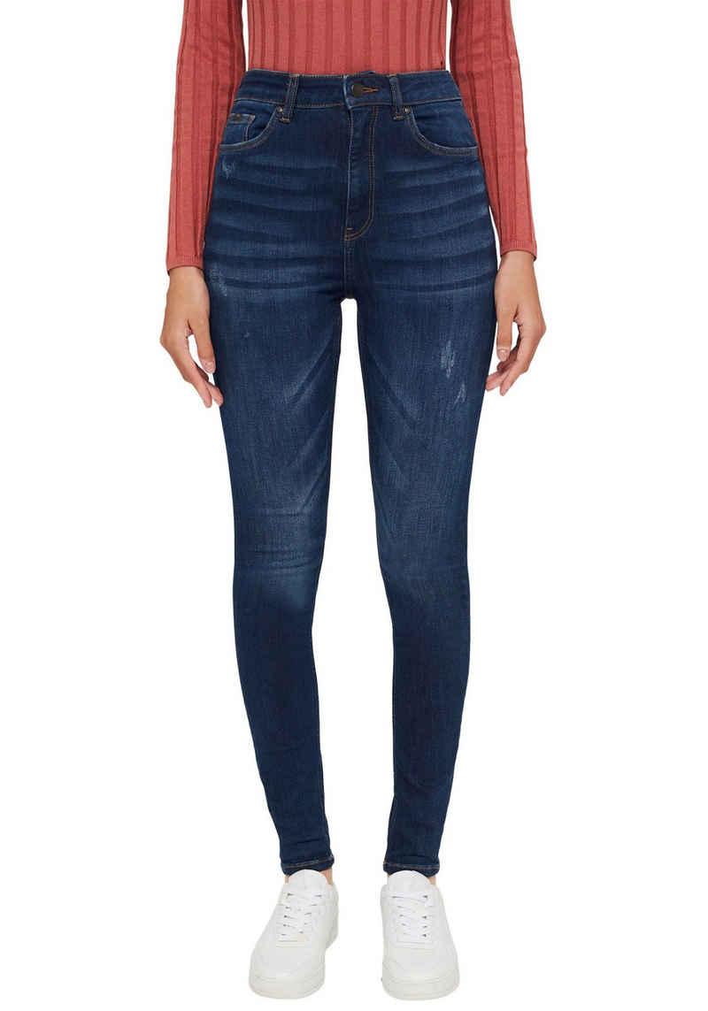 edc by Esprit Skinny-fit-Jeans in authentischer Waschung mit destroyed Effekten