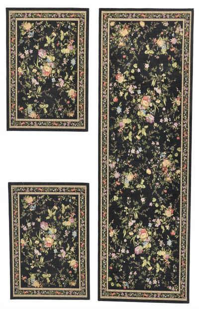 Bettumrandung »Flomi Sagrini« THEKO, Höhe 3 mm, (3-tlg), Bettvorleger, Läufer-Set für das Schlafzimmer, Flachgewebe, gewebt, Pastell-Farben, Blumen Design