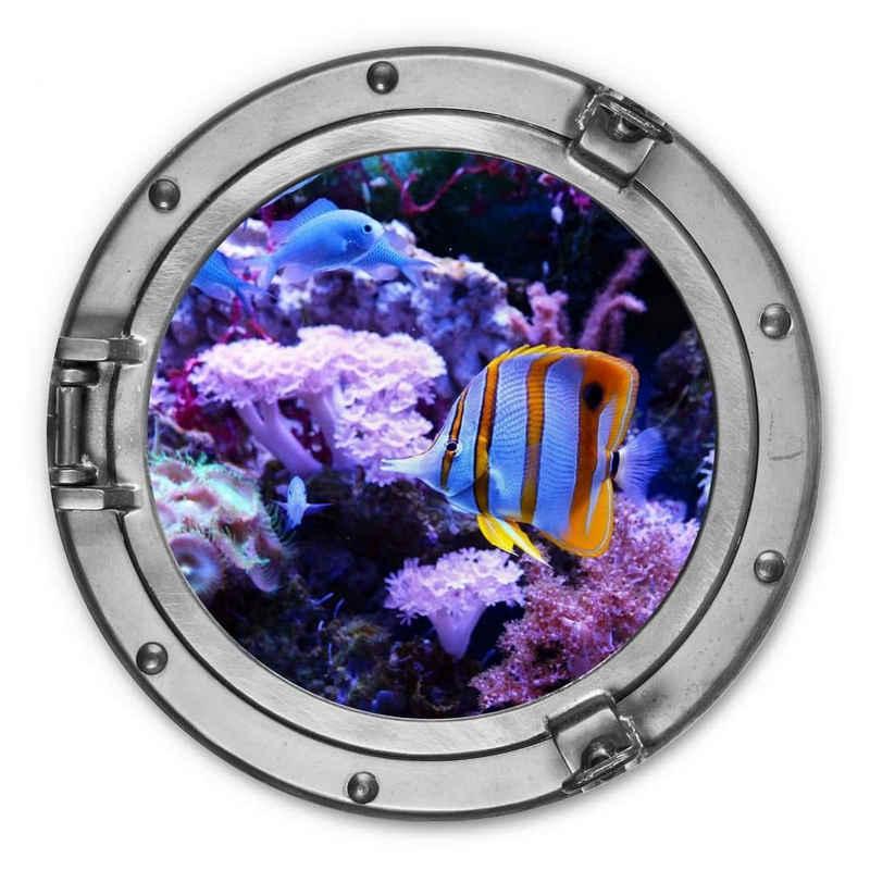 K&L Wall Art Metallbild »Metallbild Rund Metall Wandbild Bullauge Fenster U-Boot Fische Ozean Lila Korallen«