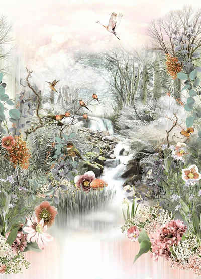 Komar Fototapete »Fable«, glatt, bedruckt, floral, geblümt, (Set), ausgezeichnet lichtbeständig