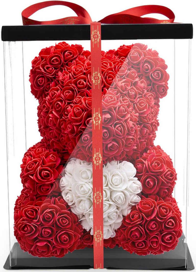 Kunstblume »Rosenbär 40 cm inkl. Geschenkbox mit Herz - Geschenk für Freundin Jahrestag Geburtstag Hochzeit«, NADIR, Größe: 40 cm, inklusive Geschenkbox
