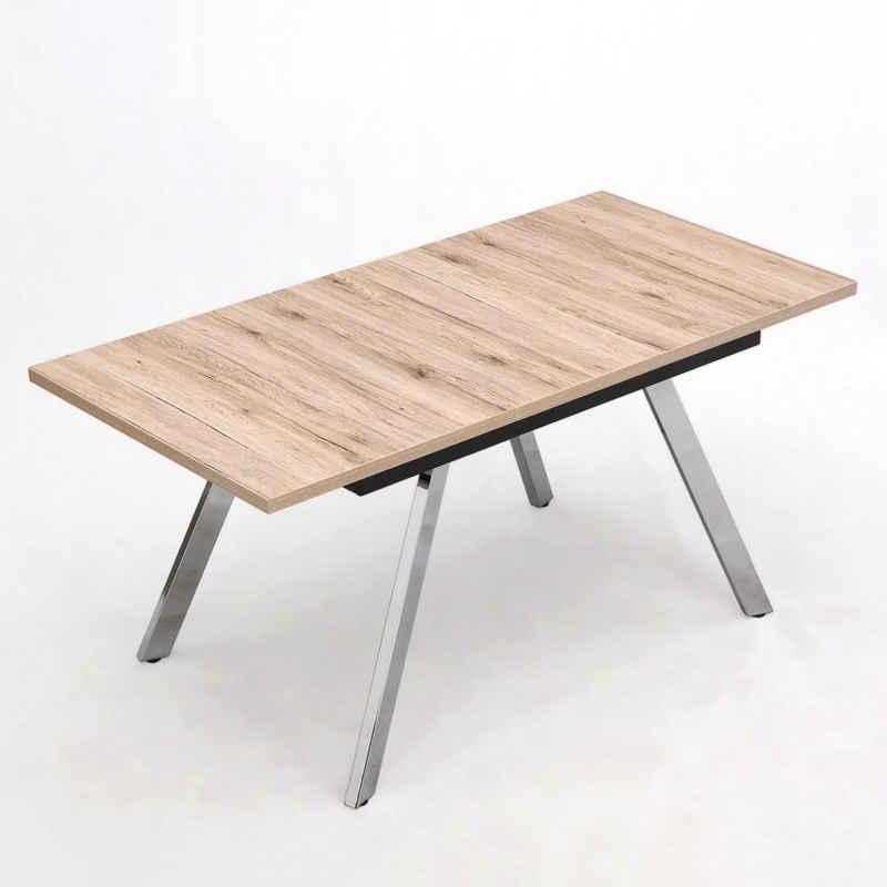 B&D home Esstisch »ausziehbarer Esszimmertisch EDDA«, (5 Farben zur Auswahl) Esstisch ausziehbar 120-160 cm, Metallgestell verchromt, für Esszimmer, Küche, moderner Stil
