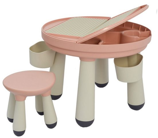 LittleTom Spieltisch »3-in-1 Kinder Spieltisch kompatibel mit LEGO DUPLO«, Kindertisch mit Stuhl ab 1 Jahr