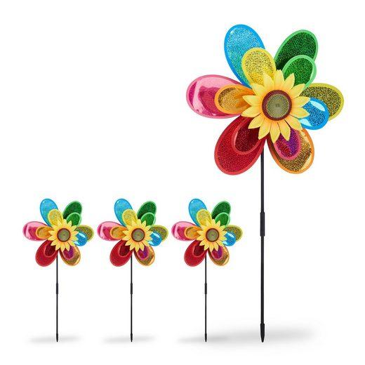 relaxdays Windrad »4 x Windrad Blume«