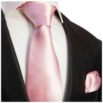 Paul Malone Krawatte »Herren Seidenkrawatte Schlips mit Tuch modern uni satin 100% Seide« (Set, 2-St., Krawatte mit Einstecktuch) Schmal (6cm), rosa 922
