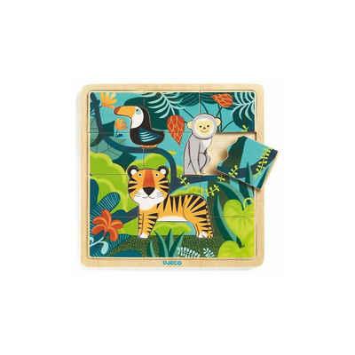 DJECO Puzzle »Rahmenpuzzle Jungle, 15 Teile«, Puzzleteile