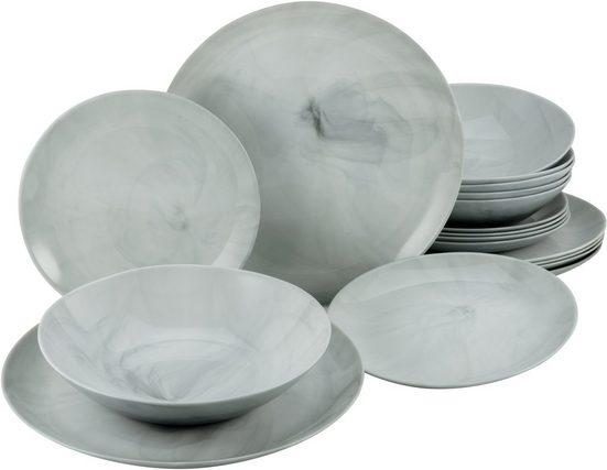 CreaTable Tafelservice »Marmor« (18-tlg), Glas, mit natürlicher Marmorstruktur