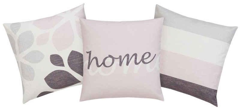Kissenhüllen »Mia«, Home affaire (3 Stück), 3 verschiedene Designs in einem Set
