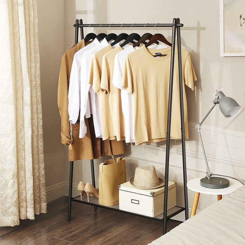 SONGMICS Kleiderständer »HSR23BK«, Garderobenständer mit Kleiderstange, mattschwarz, bis 40 kg belastbar