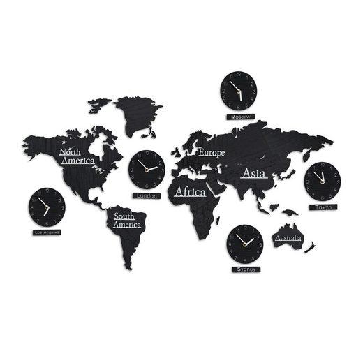 relaxdays Wandsticker »Weltkarte Holz mit 5 Uhren«