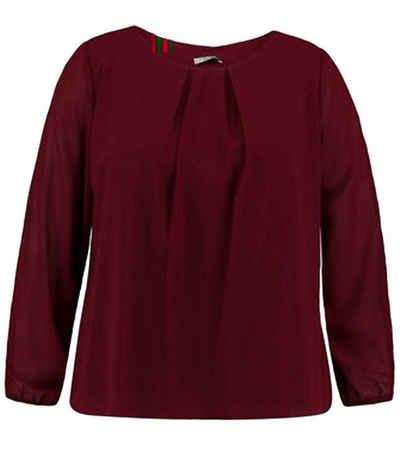 ZABAIONE Schlupfbluse »ZABAIONE Yakira Schlupf-Bluse elegante Damen Rundhals-Bluse mit Zierfalten Blusen-Shirt Rot«