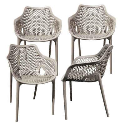 TRISENS Gartenstuhl (4 Stück), Gartensessel Gartenstuhl Kunststoff Stapelstuhl Armlehne Küchenstuhl Bistrostuhl