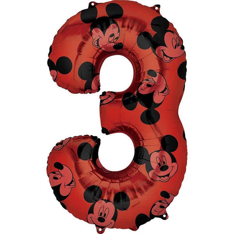 Amscan Folienballon »Folienballon Mid Size Mickey Maus Forever Zahl 3«