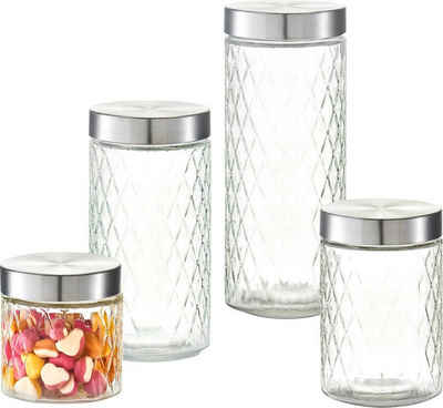 Zeller Present Vorratsglas »Raute«, Glas, Metall, (Set, 4-tlg)