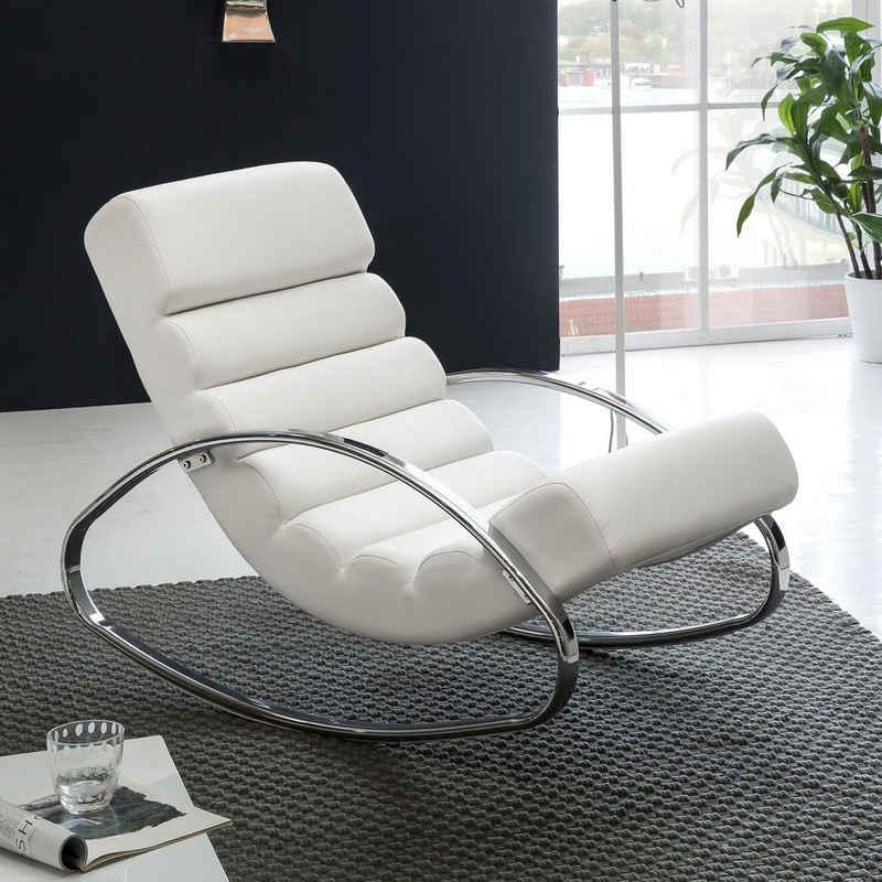 FINEBUY Schaukelstuhl »SuVa4025_1«, Relaxliege Sessel Fernsehsessel Relaxsessel Design Schaukelstuhl Wippstuhl modern