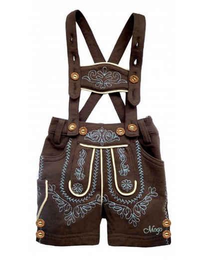 Mogo Trachtenlederhose »Babylederhose in weicher elastischer Baumwollsweatware, Bopser mit cooler Waschung, auch schon für die Kleinsten,bestickt in blau«