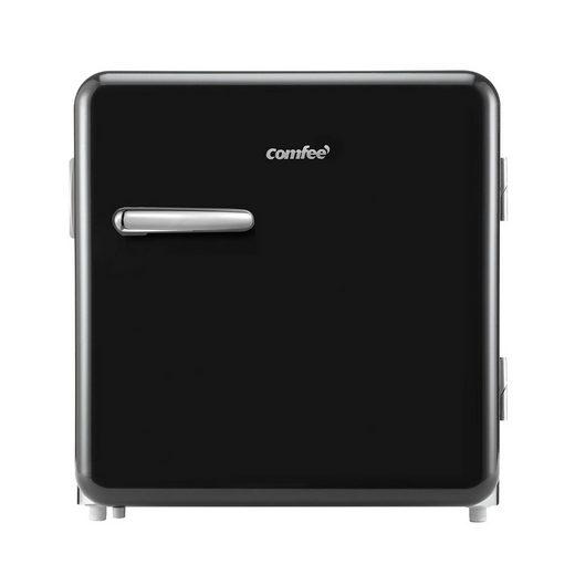 comfee Table Top Kühlschrank RCD50DK1RT(E), 50 cm hoch, 48.5 cm breit, Einstellbare Temperaturregelung, Verstellbare Standfüße, Power-Kühlfach, Retro-Design
