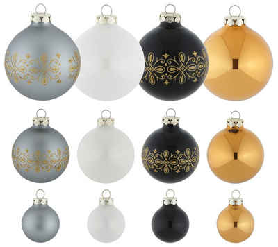 Thüringer Glasdesign Weihnachtsbaumkugel »Black&White&Gold« (30 Stück)