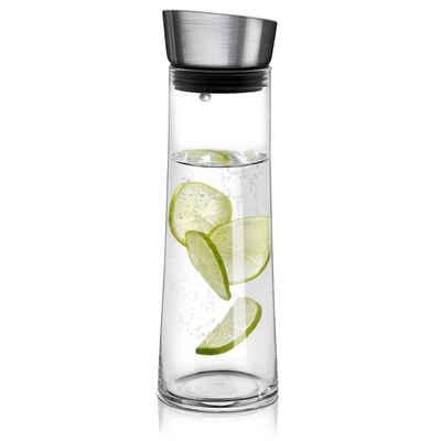 Navaris Karaffe, Glaskaraffe aus Borosilikatglas 0,8L Glaskrug - Wasser Karaffe mit Deckel - Glasbehälter Wasserkaraffe Wasserflasche - Tee Krug Ausgießer