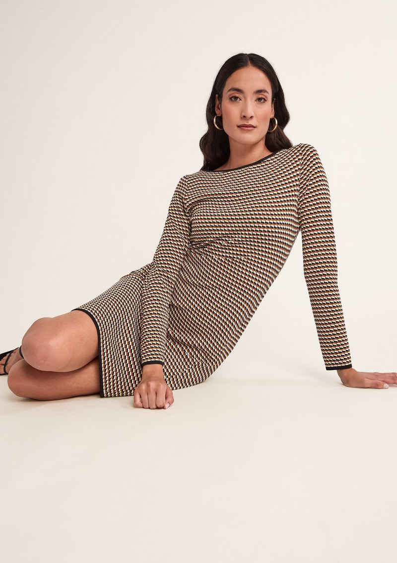 Comma Minikleid »Kleid mit Allovermuster« Rippblende