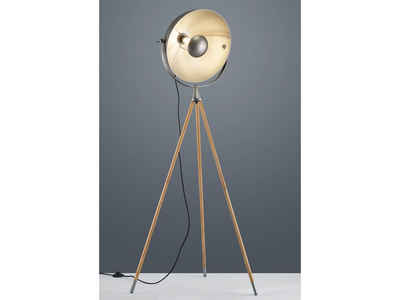 meineWunschleuchte LED Stehlampe, mit Dreibein-Stativ aus Holz, Retro Industrie-Design, einflammig, Silber, Skandi Lampen mit Fußschalter, schwenkbar