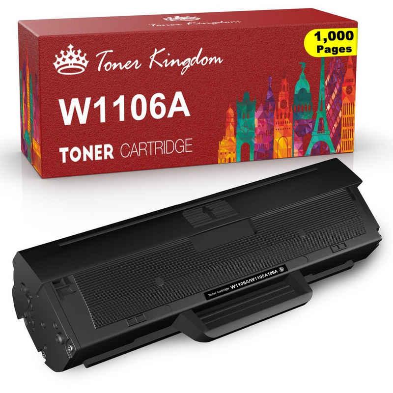 Toner Kingdom Tonerpatrone »106A/W1106A«, (Schwarz, 1-St., Mit chip), für HP Laser MFP 135a 135w 135wg 135r