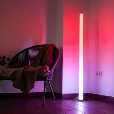 etc-shop Stehlampe, Design RGB LED Steh Leuchte Stand Lampe Farbwechsler Strahler Fernbedienung Dimmer Beleuchtung