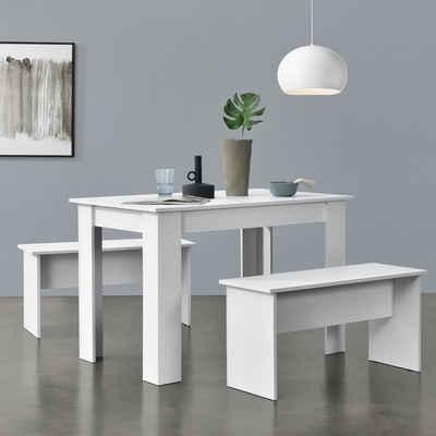 en.casa Essgruppe, (3-tlg), »Hokksund« Esstisch 110x70cm mit 2 Bänken Sitzgruppe in verschiedenen Farben