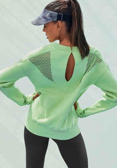 LASCANA ACTIVE Sweatshirt »Technical Red« mit Mesh-Einsätzen und Cutout