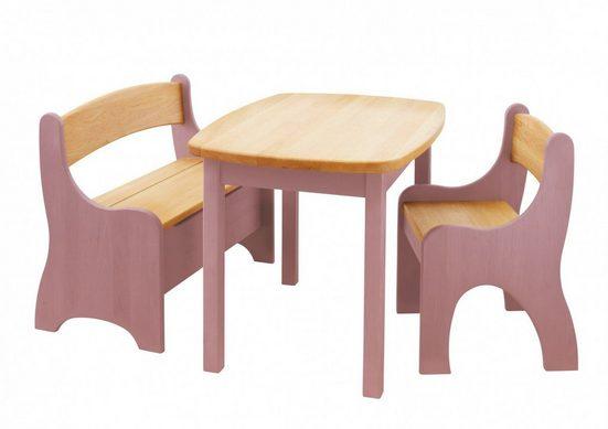 BioKinder - Das gesunde Kinderzimmer Kindersitzgruppe »Levin«, mit Tisch, Sitzbank und Stuhl, Sitzhöhe 30 cm