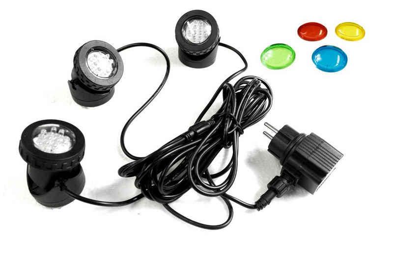 Arnusa LED Teichleuchte »3er Gartenspot Pflanzenstrahler Unterwasserbeleuchtung«, mit Farbfilterscheiben