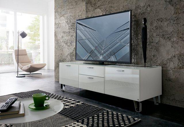 LEONARDO Lowboard »CUBE«, auf Designfüßen, mit 2 Türen, 1 Klappe, 1 SK, Bre günstig online kaufen