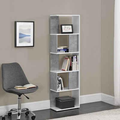 en.casa Bücherregal, »Aneby« Standregal Mehrzweckregal mit 5 Ablageflächen 159x45x24cm Weiß / Betonfarben