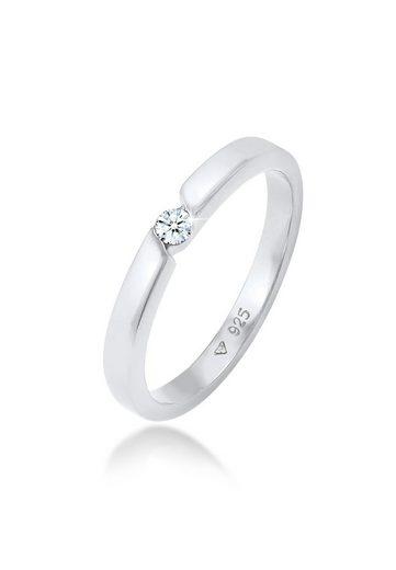 Elli Premium Diamantring »Verlobungsring Diamant (0.06 ct) 925 Silber«, Diamant