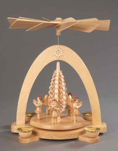 Albin Preissler Weihnachtspyramide »5 Engel mit Spanbaum«, Handwerkskunst aus dem Erzgebirge
