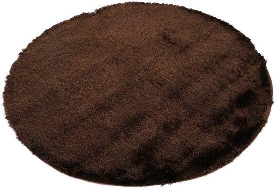 Hochflor-Teppich »Breeze«, carpetfine, rund, Höhe 45 mm, besonders weich mit leichtem Glanz Garn, Wohnzimmer