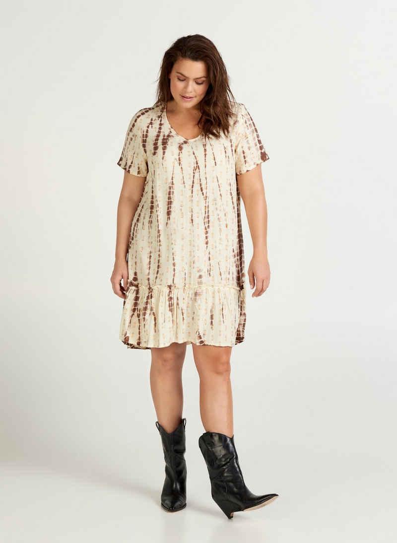 Zizzi Minikleid Große Größen Damen Kurzarm Kleid mit Print und V Ausschnitt