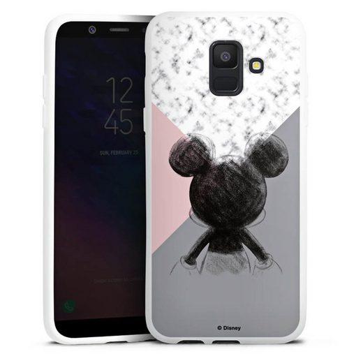 DeinDesign Handyhülle »Mickey Mouse Scribble« Samsung Galaxy A6 (2018), Hülle Disney Marmor Offizielles Lizenzprodukt