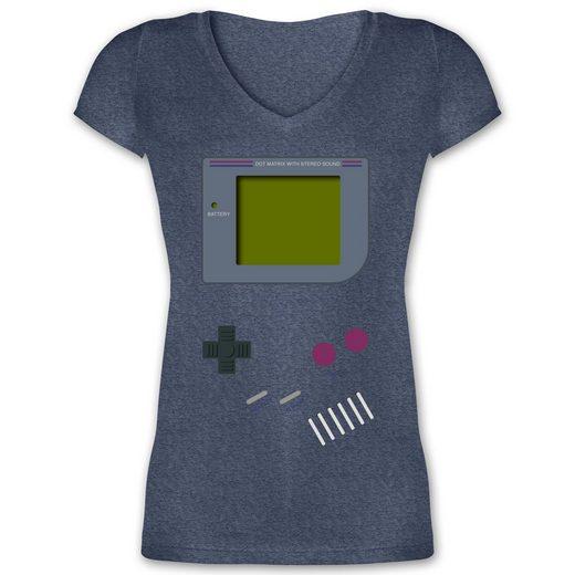 Shirtracer T-Shirt »Gameboy - Damen T-Shirt mit V-Ausschnitt - T-Shirts« Nerds & Geeks