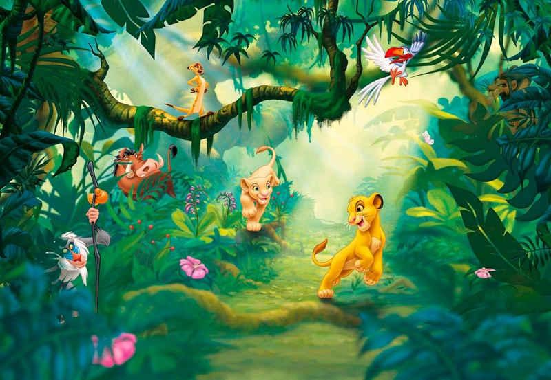 Komar Fototapete »Lion King Jungle«, glatt, bedruckt, Comic, (Set), ausgezeichnet lichtbeständig