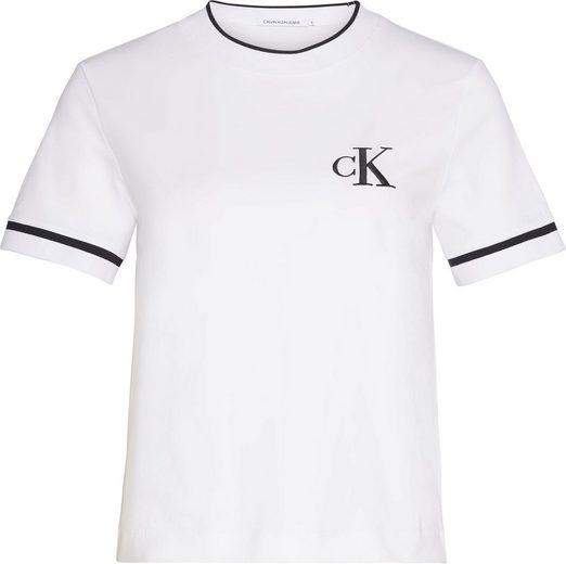 Calvin Klein Jeans T-Shirt »CK EMBROIDERY TIPPING TEE« mit kontrastfarbenen Streifen & CK -Logo-Stickerei