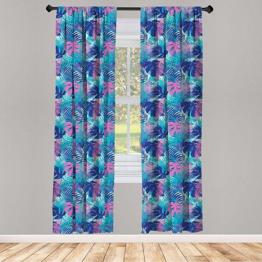 Gardine »Fensterbehandlungen 2 Panel Set für Wohnzimmer Schlafzimmer Dekor«, Abakuhaus, Blatt Vivid Farbige Insel Flora