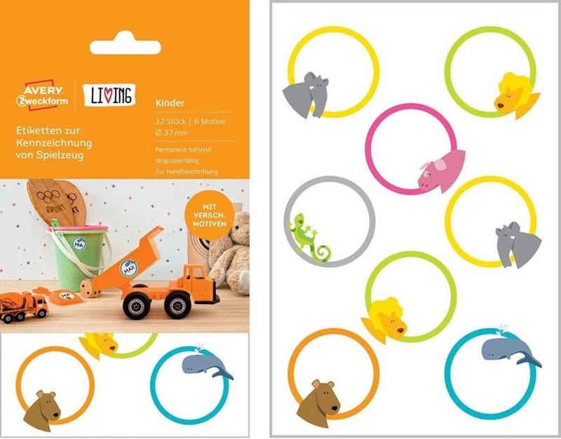 Avery Zweckform Etikettenpapier »Avery Zweckform 32 Bunte Kinder Namens-Aufkleber Spielzeug-Etiketten Haushalts-Etiketten Sticker«