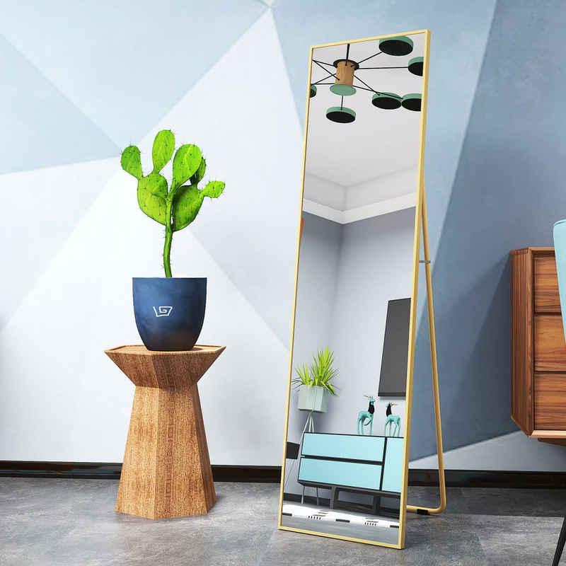 SOFTWEARY Standspiegel »Ganzkörperspiegel mit Metallrahmen und Haken, HD Wandspiegel, Ankleidespiegel, kippbar, 140x40 cm«