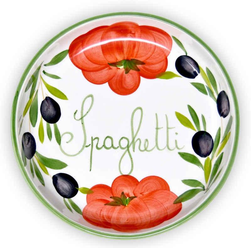 Lashuma Pastateller »Tomate Olive«, Nudelschale rund, Servierteller handgemacht