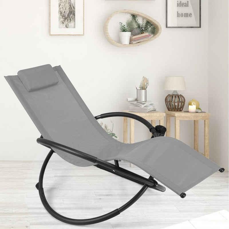 COSTWAY Relaxliege »Schaukelliege, Liegestuhl«, mit Abnehmbarer Kopfstütze und Getränkehalter, tragbar