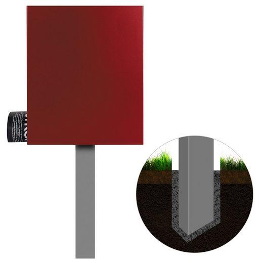 MOCAVI Briefkasten »Standbriefkasten mit Zeitungsfach rubin-rot (RAL 3003) MOCAVI SBox 111b Briefkasten mit Pfosten (einbetonieren)«