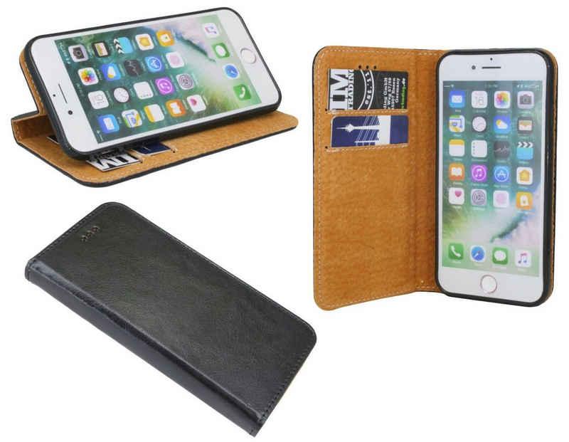 cofi1453 Handyhülle »Echtleder Tasche Flip Case Schwarz« Samsung Galaxy J3 2016, Schutzhülle Handy Wallet Cover mit Kartenfächern, Standfunktion