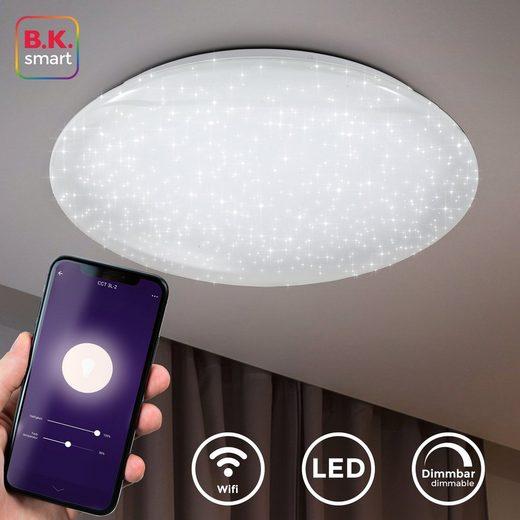 B.K.Licht LED Deckenleuchte, Smart Home Deckenlampe LED Sternenlicht Leuchte dimmbar 40W Glitzer-Lampe WiFi