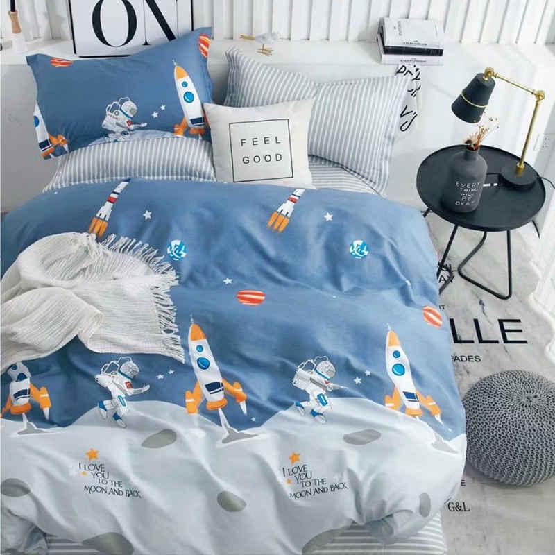 Kinderbettwäsche »YZTX«, KEAYOO, mit Astronaut und Rakete Muster 100% Baumwolle mit Reißverschluss für Kinder Junge und Mädchen